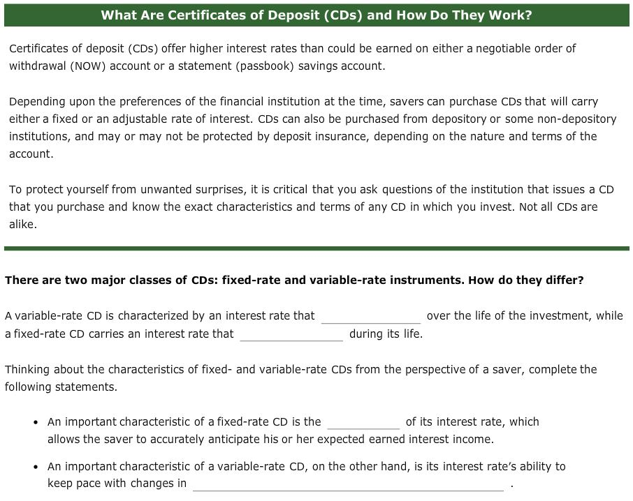 Solved What Are Certificates Of Deposit Cds And How Do