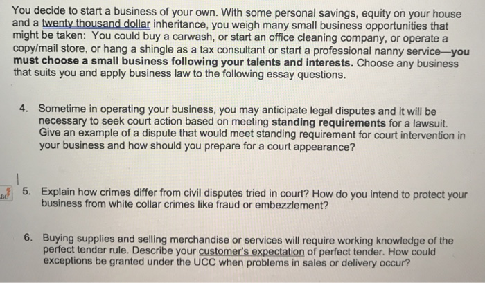 Solved: This Ks For Business Law, 5 Sentences Per Question