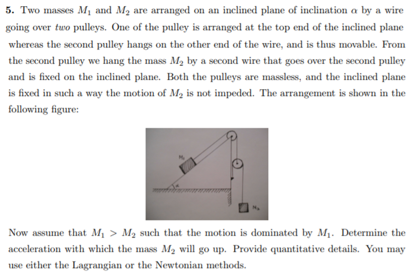 two masses m1 and m2 are arranged on an inclined plane of inclination a