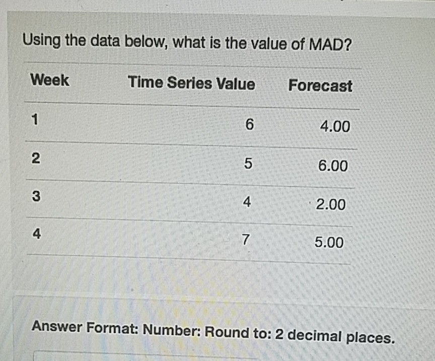 Solved: Using The Data Below, What Is The Value Of MAD? We ...