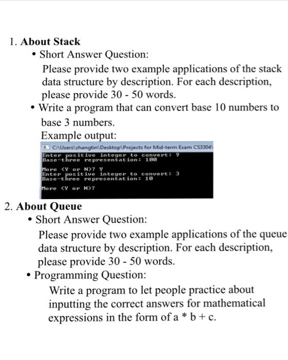 Solved: 1. About stack short answer question: please provi.