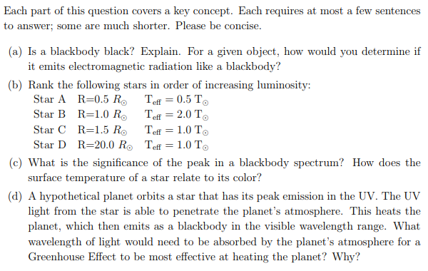 Each part of this question covers a key concept. Each requires at most a few sentences to answer; some are much shorter. Plea