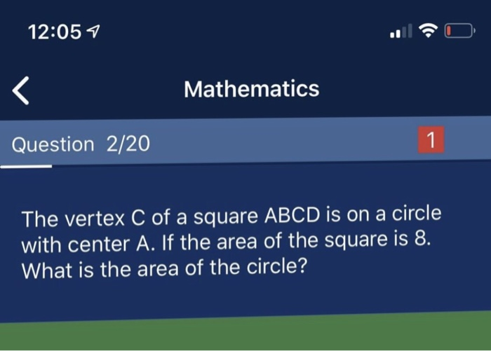 Solved: 12:05 7 Mathematics Question 2/20 1 The Vertex C O