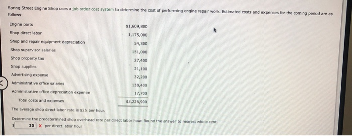Solved: Spring Street Engine Shop Uses A Job Order Cost Sy