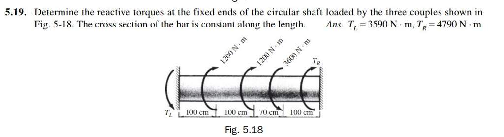 5.19. Determine the reactive torques at the fixed ends of the circular shaft loaded by the three couples shown in Fig. 5-18. The cross section of the bar is constant along the length. Ans. TL-3590 N·m, TR = 4790 N·m T100 cm 100 cm 70 cm 100 cm Fig. 5.18