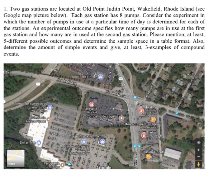 Solved: 1. Two Gas Stations Are Located At Old Point Judit ...