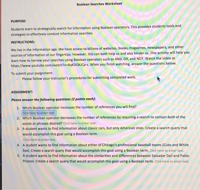 Solved Boolean Searches Worksheet Purpose Students Learn