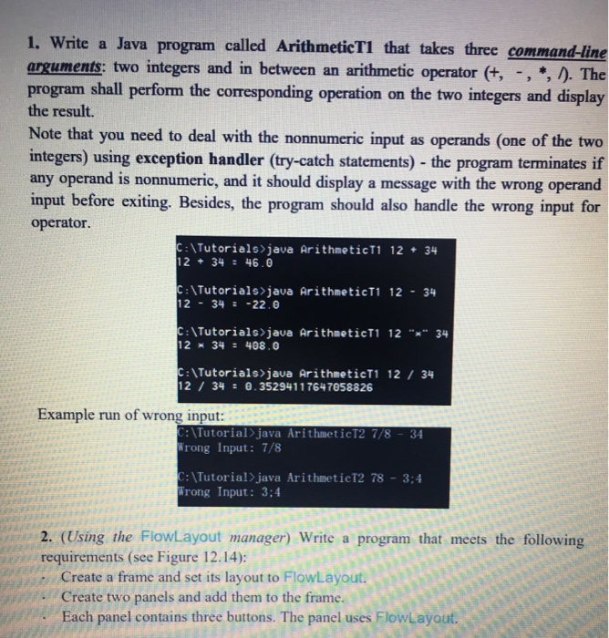 Solved: 1  Write A Java Program Called ArithmeticT1 That T