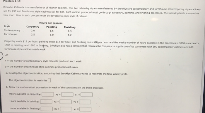 Solved Problem 1 19 Brooklyn Cabinets Is A Manufacturer O