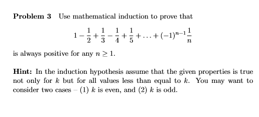 mathematical induction solved problems