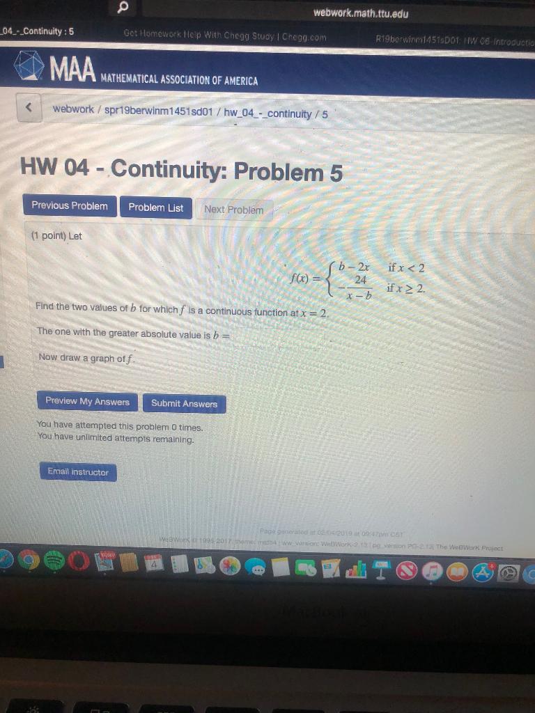 Solved: Webwork math  Ttu edu 04-Continuity:5 Gct Homework