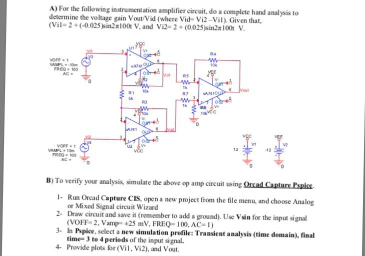Strange Solved A For The Following Instrumentation Amplifier Cir Wiring 101 Capemaxxcnl