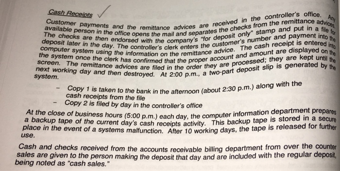 cash receipts controllers office customer received in the ad available payments and the remittance advice create