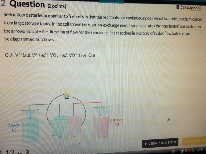 Solved: 2 Question (2points) See Page 884 Redox Flow Batte