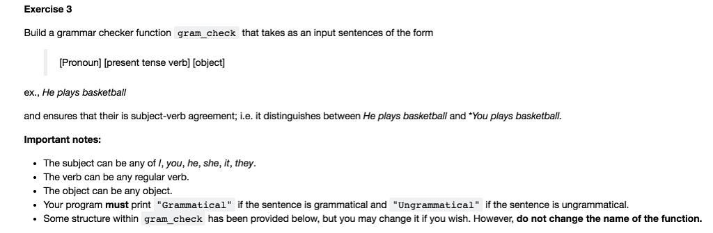 Solved Exercise 3 Build A Grammar Checker Function Gramc