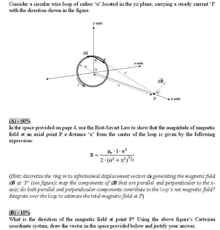 Solved  Consider A Circular Wire Loop Of Radius  U0026 39 Alpha U0026 39  Lo