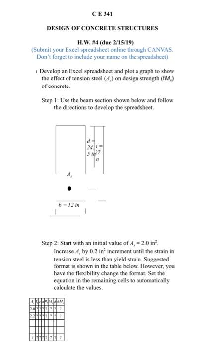 CE 341 DESIGN OF CONCRETE STRUCTURES H W  #4 (due     | Chegg com