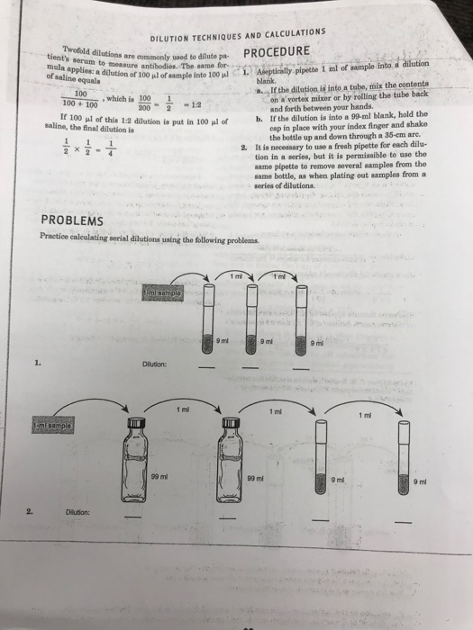 Solved Dilution Techniques And Calculations Twofol D Dilu