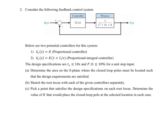 2. Consider the following feedback control system Controller Process R(s) Y(s) Below are two potential controllers for this system: 1) Ge(s)K (Proportional controller) 2) Ge(s)K(1 1/s) (Proportional-integral controller) The design specifications are ts 10s and P.0.s 10% for a unit step input. (a) Determine the area on the S-plane where the closed loop poles must be located such that the design requirements are satisfied. (b) Sketch the root locus with each of the given controllers separately. ) Pick a paint that aiations on each rnot locus Detemine the value of K that would place the closed-loop pole at the selected location in each case