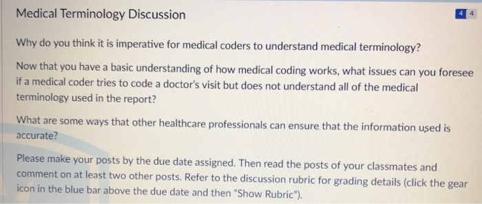 Solved: Medical Terminology Discussion Why Do You Think It