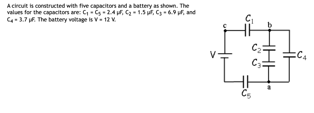 A circuit is constructed with five capacitors and a battery as shown. The values for the capacitors are: C1 C5-2.4 μF, C2 1.5
