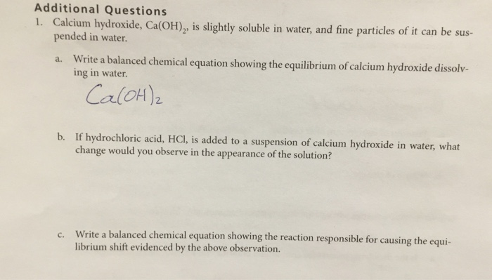 Solved Additional Questions 1 Calcium Hydroxide Caoh