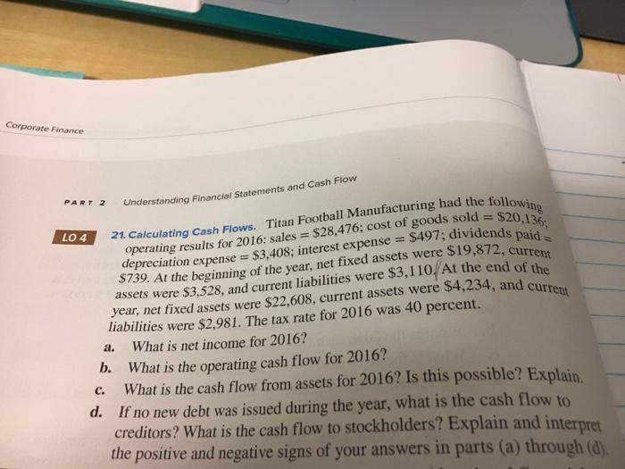 Solved: Corporate Finance 2 Understanding Financial Statem