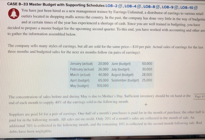 Solved: CASE 8-33 Master Budget With Supporting Schedules