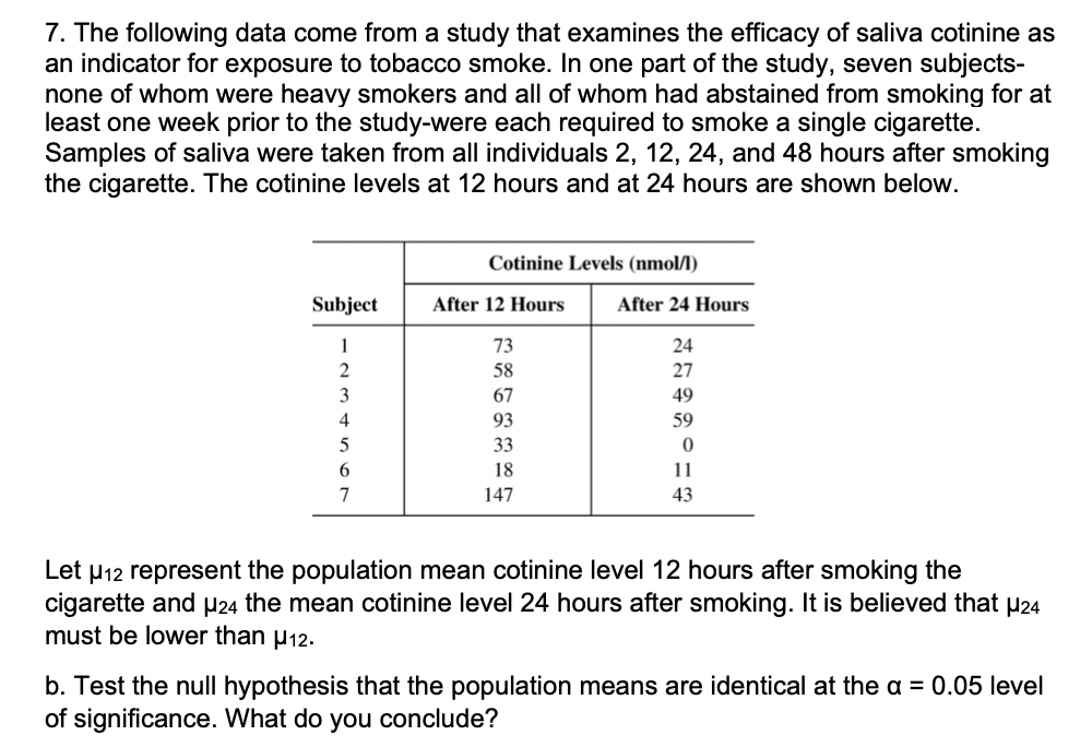 Solved: 7  The Following Data Come From A Study That Exami