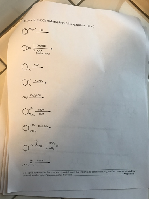 Chemistry archive may 01 2017 chegg draw the major products for the following reactions 08 pts hbr 1 fandeluxe