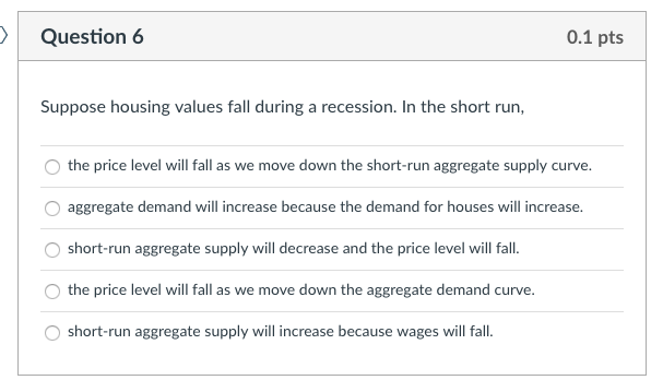 Question 6 0 1 Pts Suppose Housing Values Fall During A Recession In The Short Run