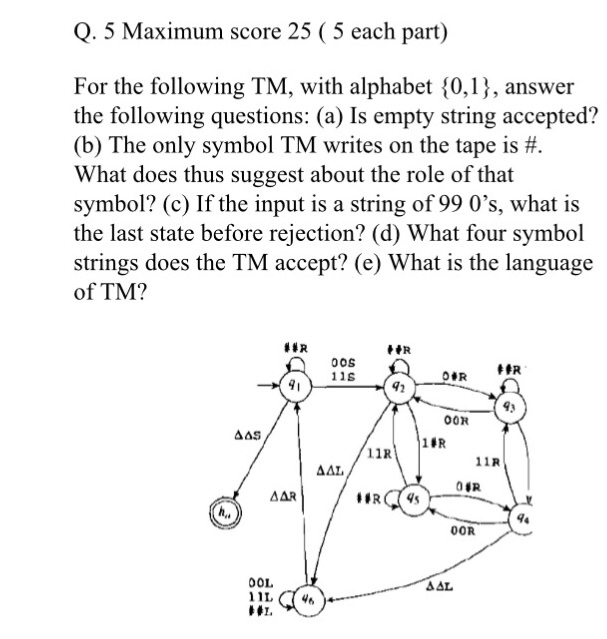 For The Following Tm With Alphabet 0 1 Answer Chegg