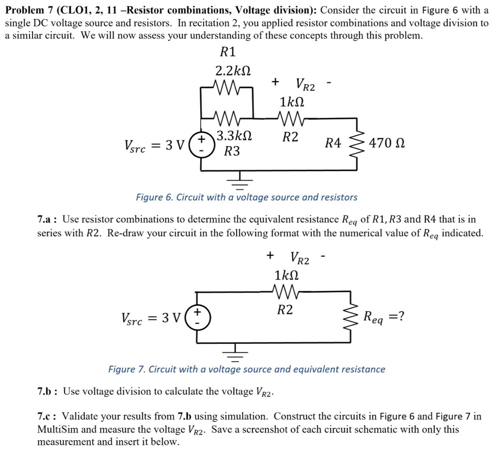 Solved: Problem 7 (CLO1, 2, 11 –Resistor Combinations, Vol ... on