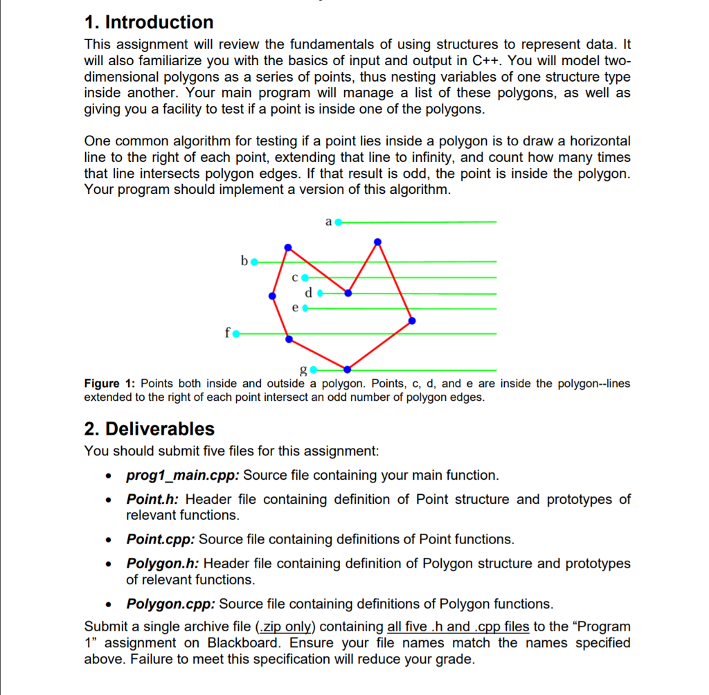 1. Introduction This assignment will review the fundamentals of using structures to represent data. It will also familiarize you with the basics of input and output in C++. You will model two- dimensional polygons as a series of points, thus nesting variables of one structure type inside another. Your main program will manage a list of these polygons, as well as giving you a facility to test if a point is inside one of the polygons One common algorithm for testing if a point lies inside a polygon is to draw a horizontal line to the right of each point, extending that line to infinity, and count how many times that line intersects polygon edges. If that result is odd, the point is inside the polygon Your program should implement a version of this algorithm Figure1: Points both inside and outside a polygon. Points, c, d, and e are inside the polygon--lines extended to the right of each point intersect an odd number of polygon edges 2. Deliverables You should submit five files for this assignment: prog1_main.cpp: Source file containing your main function. Point.h: Header file containing definition of Point structure and prototypes of relevant functions. Point.cpp: Source file containing definitions of Point functions Polygon.h: Header file containing definition of Polygon structure and prototypes of relevant functions Polygon.cpp: Source file containing definitions of Polygon functions Submit a single archive file (zip only) containing all five h and cpp files to the Program 1 assignment on Blackboard. Ensure your file names match the names specified above. Failure to meet this specification will reduce your grade.