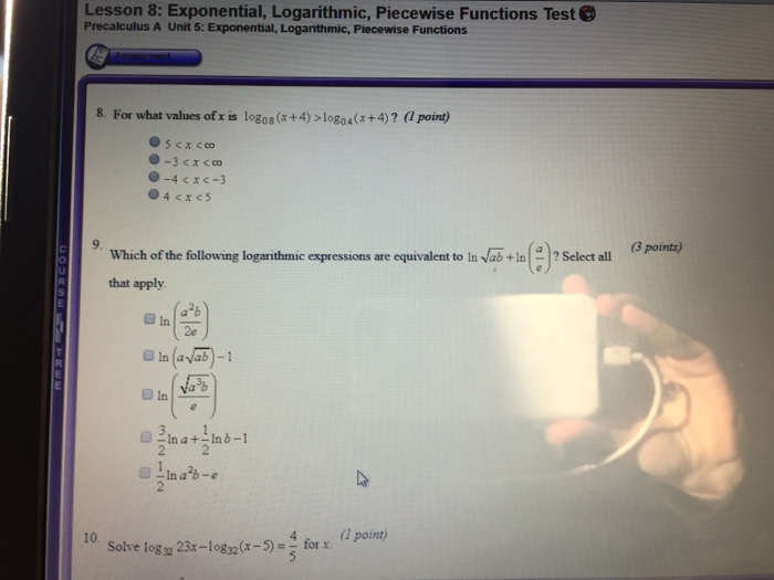 Solved: Lesson 8: Exponential, Logarithmic, Piecewise Func