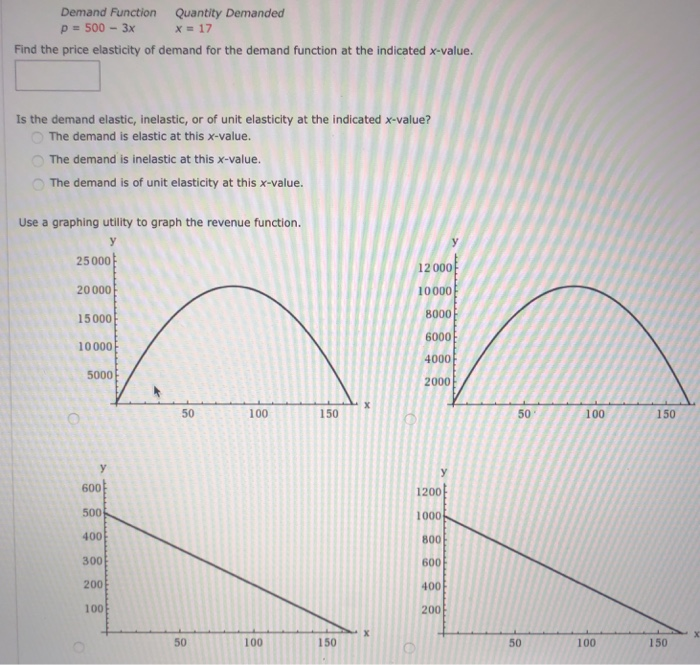 Solved Demand Function P 500 3x Quantity Demanded X 17 Fi