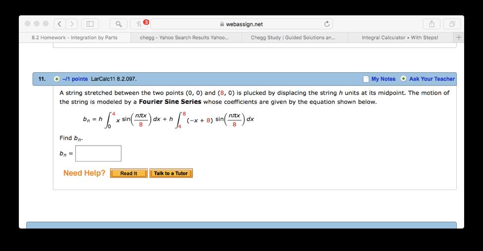 Solved: ? Webassign net 8 2 Homework- Integration By Parts