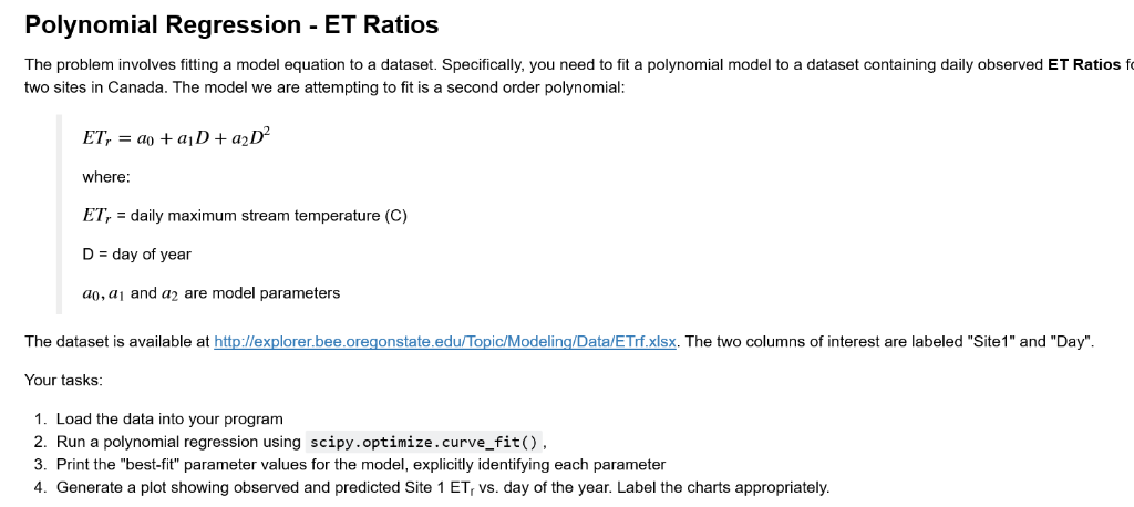 Polynomial Regression - ET Ratios The Problem Invo      Chegg com