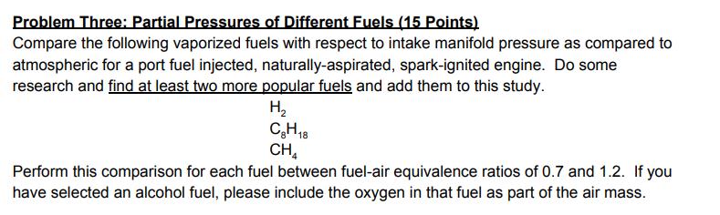 Problem Three: Partial Pressures Of Different Fuel      Chegg com