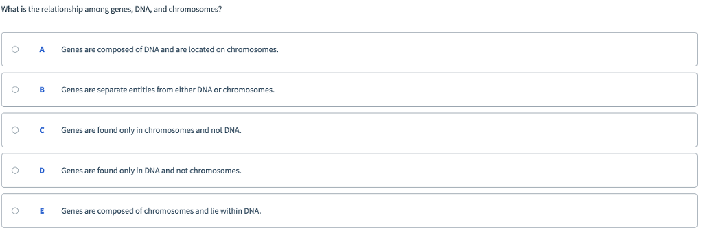 What is the relationship among genes, DNA, and chromosomes? O AGenes are composed of DNA and are located on chromosomes. O BGenes are separate entities from either DNA or chromosomes. O CGenes are found only in chromosomes and not DNA. O D Genes are found only in DNA and not chromosomes. O E Genes are composed of chromosomes and lie within DNA.