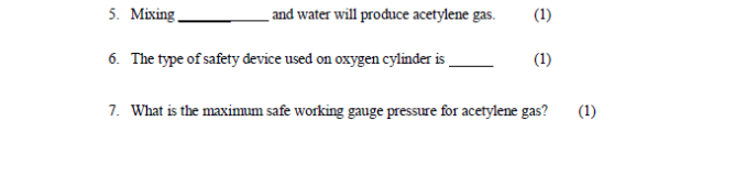 Solved: And Water Will Produce Acetylene Gas (1) 5 Mixing