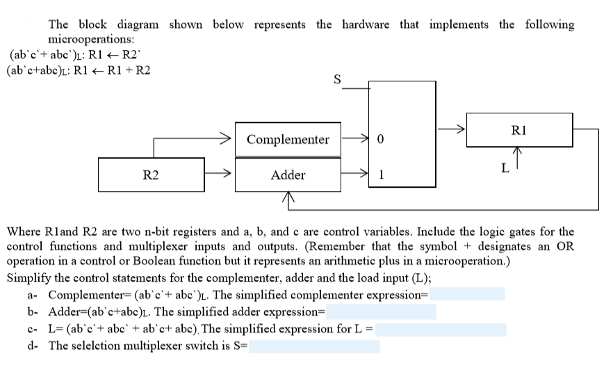 the block diagram shown below represents the hardware that implements the  following microoperations: r1 complementer0