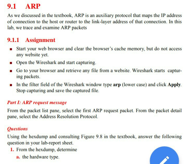 Solved: 9 1 ARP As We Discussed In The Textbook, ARP Is An