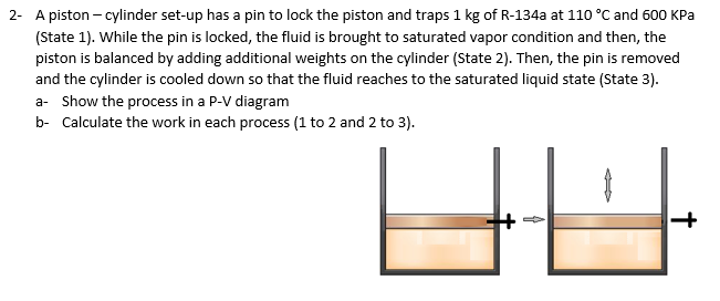 A piston-cylinder set-up has a pin to lock the piston and traps 1 kg of R-134a at 110 °C and 600 KPa (State 1). While the pin is locked, the fluid is brought to saturated vapor condition and then, the piston is balanced by adding additional weights on the cylinder (State 2). Then, the pin is removed and the cylinder is cooled down so that the fluid reaches to the saturated liquid state (State 3) a- Show the process in a P-V diagram b- Calculate the work in each process (1 to 2 and 2 to 3) 2-