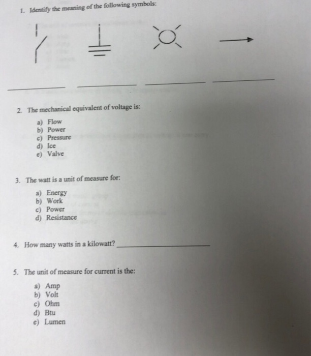 Solved 1 Identify The Meaning Of The Following Symbols