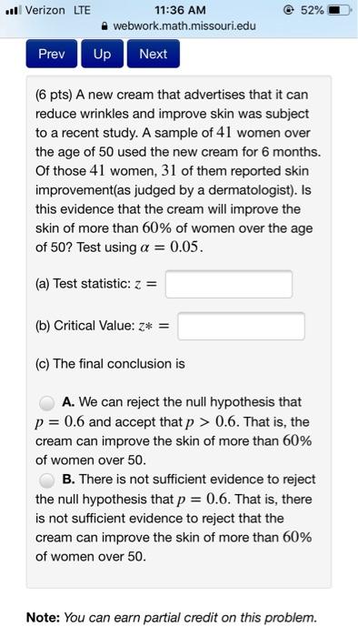 Solved: Verizon LTE 52% 11:36 AM Webwork math missouri edu