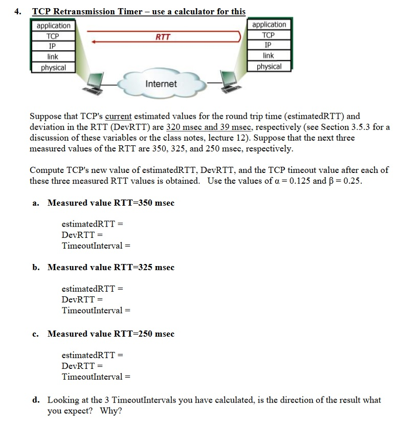 solved 4 tcp retransmission t imer use a calculator for