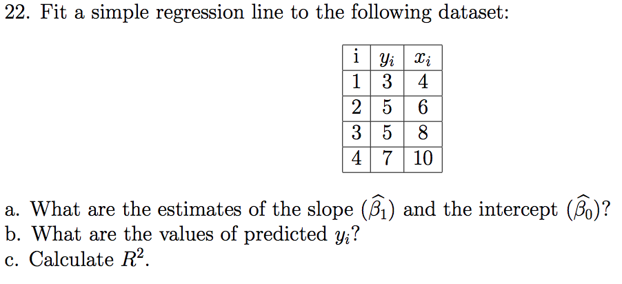 Solved It A Simple Regression Line To The Following Datas