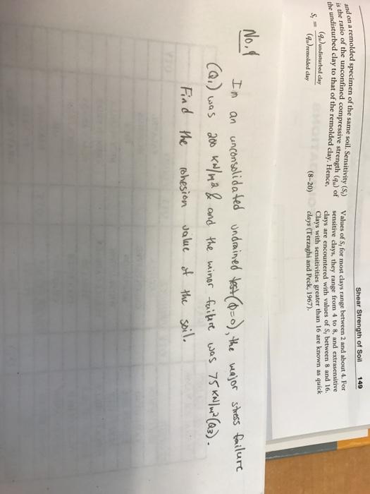 solved 149 shear strength of soil n a remolded specimen o
