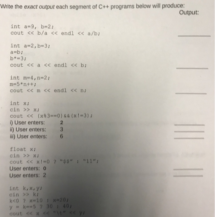 Write the exact output each segment of